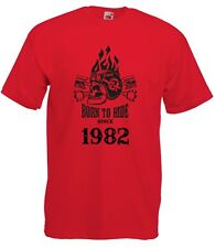 T-shirt Maglietta J2252 Fast Motor and Skull Born To Ride Since 1982 Compleanno