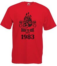 T-shirt Maglietta J2253 Fast Motor and Skull Born To Ride Since 1983 Compleanno