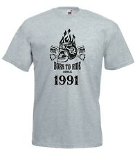 T-shirt Maglietta J2261 Fast Motor and Skull Born To Ride Since 1991 Compleanno