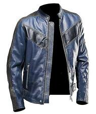 Mens Navy Blue Cafe Racer Leather Jacket | Cafe Racer Blue Jacket - All Sizes