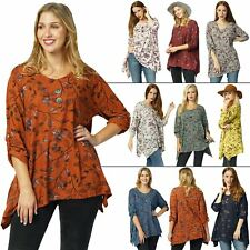 Womens Top Ladies Italian Lagenlook Floral Button Tab Exotict-pattern Scoop Neck