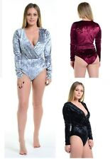 VELVET V NECK WRAP OVER BODYSUIT WOMENS LADIES LONG SLEEVE THONG VELOUR TOP