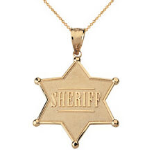 10 Quilates Oro Amarillo Placa Sheriff 6 Point Estrella Collar con Colgante