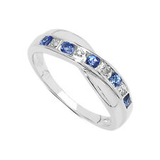 Argento Sterling 0.25ct Ct Tanzanite Anello Dell'Eternità con Canale e Set