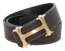 QHA Mens Designer Casual Reversible Leather H Belt Buckle
