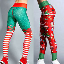 Sport Womens Christmas Print Leggings High Waist Hip Yoga Pants Workout Trousers