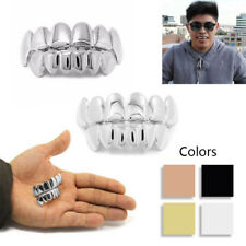 Silver Gold Plated Hip Hop Teeth Grillz Caps Top & Bottom Grill Set Fancy Props