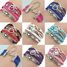 Infinity Love Heart Pearl Friendship Antique Silver Leather Charm Bracelet