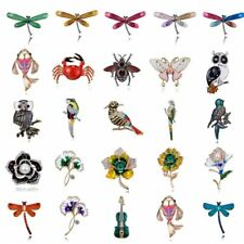 New WomensCrystal Pearl Animal Dragonfly Butterfly Bird Flower Collar Brooch Pin