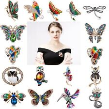 Wedding Bridal Crystal Butterfly Owl Cat Animal Brooch Pin Womens Jewellery Gift