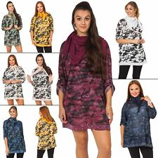 Womens Tunic Top Ladies Camouflage Sequin Hem Scarf Button Tab Sleeve Scoop Neck