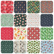 Christmas Fabric REINDEER SNOWFLAKE HOLLY TREE SANTA Red Green Craft Polycotton