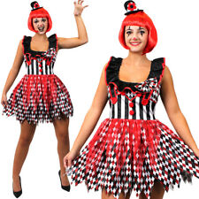 LADIES KILLER CLOWN COSTUME HARLEQUIN HORROR SCARY HALLOWEEN FANCY DRESS OUTFIT