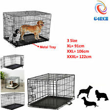 G4RCE Heavy Duty Metal Foldable Pet Puppy Dog Cage Playpen Carrier Crate Tray