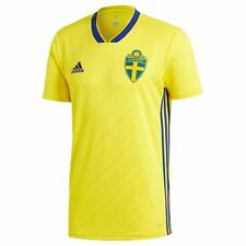adidas Sweden Home Jersey 2018 Juniors Yellow Football Soccer Top Shirt Strip