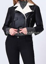 Ladies Womens Winter Leather Biker Bomber Cropped Jacket Racing Zipper Coats