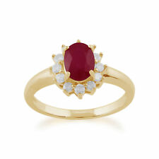 Gemondo 9ct Yellow Gold 1.06ct Ruby & Diamond Oval Cluster Ring