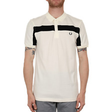 Fred Perry Textured Panelled Pique Polo - Light Ecru