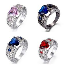 Brand New Womens Heart Stone Ring - Various Styles & Sizes - Free Postage