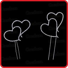 LOVE HEART HEARTS CAKE TOPPER BLING DIAMANTE RHINESTONE WEDDING-ENGAGEMENT-PARTY