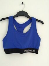 REEBOK womens blue cropped workout gym sports bra with the box size 8 10 12 BNWT