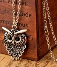 Owl Pendant Vintage Silver Necklace Long Chain Ladies Costume Jewellery Various