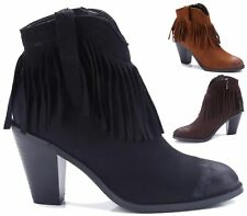 WOMENS ANKLE BOOTS BLOCK HEEL CHELSEA TASSEL FRINGE LADIES SHOES SIZE 3 - 8