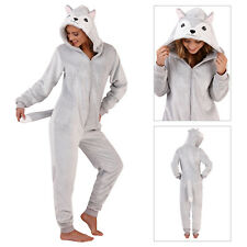Loungeable Womens 3D Husky All In One Ladies Novelty Animal Hooded Loungewear