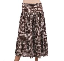 Womens Ladies Designer Papillon Bleu Black White Stripe Embroided Midi Skirt