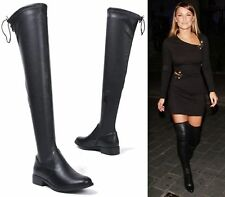 WOMENS LADIES BLACK FAUX LEATHER OVER THE KNEE THIGH BOOTS LOW HEEL SHOES SIZE