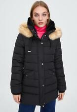 ZARA QUILTED WATER-RESISTANT BLACK PARKA WITH HOOD FAUX FUR TRIM 4319/202 L