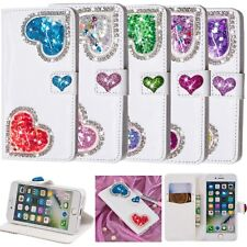 3D Love Heart Quicksand PU Leather Stand Case Cover For iPhone 6 7 8 Plus XR XS
