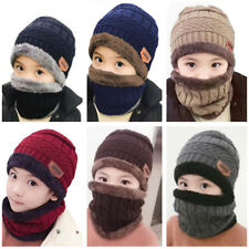 Winter Warm Fleece Scarf Beanie Hat Set Ski Neck Warmer Cap Knit Kids Boys Girls