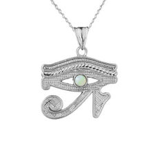 Solid White Gold  14K Eye Of Horus (Ra) With Opal Center Stone Pendant Necklace