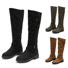 Womens Winter Leather Suede Platform High Boots Zipper Over Knee Boots Shoe