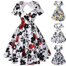 Dress Evening Pinup Cocktail Floral Vintage Womens Party Swing Hollowed Back