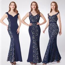 New Evening Dress  Mermaid Lace Sleeveless V-neck Party Long  Navy Blue Formal