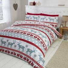 Scandi 100% Brushed Cotton Flannelette Quilt Duvet Cover and 2 Pillowcase Beddin