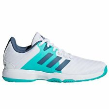 adidas Barricade Court Womens Ladies Tennis Trainer Shoe White Blue 3694169a6d22a