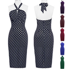 Women Dress Wiggle Halter Cocktail Pinup Pencil Vintage Party Sexy Swing 50s