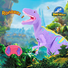 RC Walking Dinosaur Toy Roars Purple Pink Remote Control Dinosaur Toy for Kids