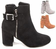 LADIES WOMENS FORMAL FAUX SUEDE HIGH BLOCK HEEL ZIP ANKLE SHOES BOOTS SIZE 3-8