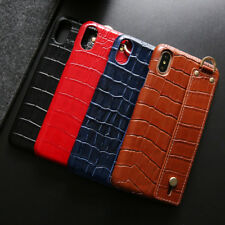 For iPhone Xs Max Xr X 7 8 Crocodile Luxury Genuine Leather Hard Back Case Cover
