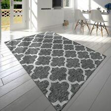 Contemporary Moroccan Design Rug Fancy Mottled Mat In Grey Anthracite Short Pile