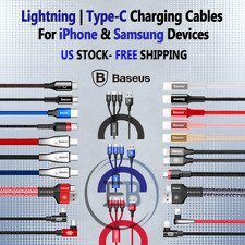 Cables Type C / Lightning 3 6 10 ft iPhone 6 7 8 X XS S8 S9 FAST Chargers BASEUS
