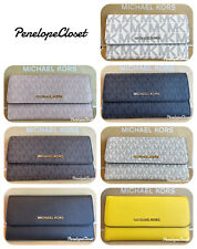 NWT MICHAEL KORS PVC OR LEATHER JET SET TRAVEL LARGE TRIFOLD WALLET VARIOUS