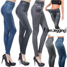 Ladies Zlimmy Slim Jeggings Slimming Jeans Blue Black Grey Leggings S/M L/XL