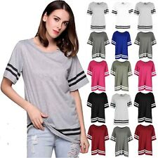 New Womens Baseball Stripe Baggy Top Short Sleeve Sport Pullover T Shirts Blouse