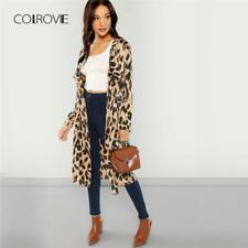 Apricot Shawl Collar Leopard Print Long Trench Coat Women Cardigan Outwear Women