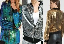 Glitter Sequin Bomber Jacket Coat Clubbing Top Womens Biker Festival  Party Club